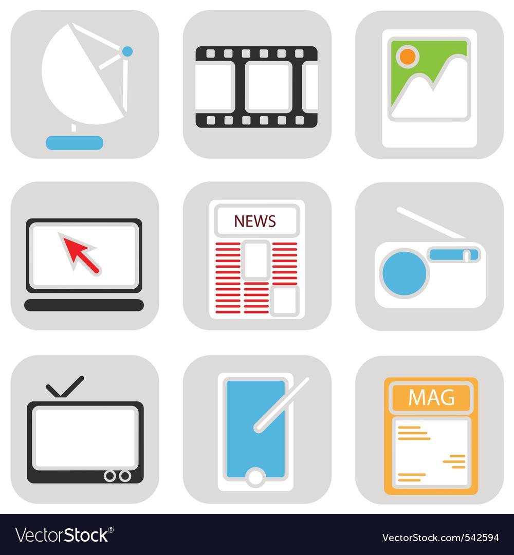 Media icons vector | Price: 1 Credit (USD $1)