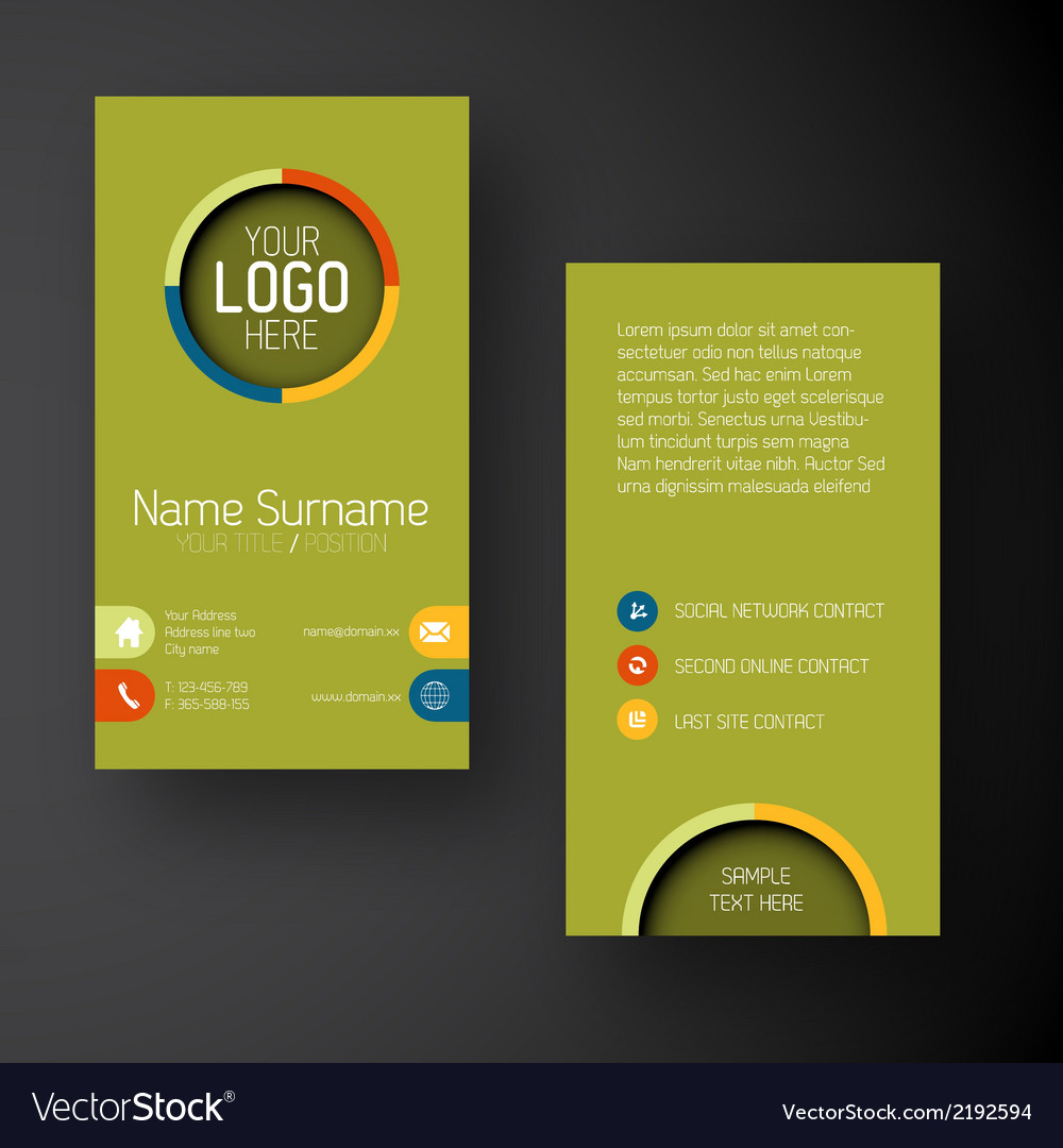 Modern green vertical business card template with vector | Price: 1 Credit (USD $1)