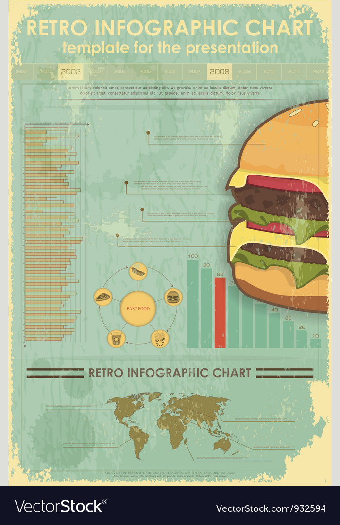 Retro infographics with fast food items vector | Price: 3 Credit (USD $3)