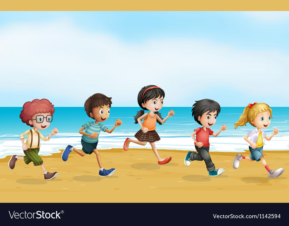 Running children vector | Price: 1 Credit (USD $1)