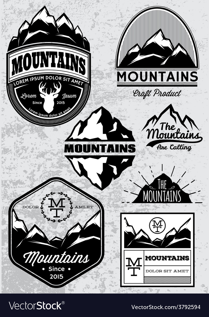 Set of templates for emblems with mountains vector