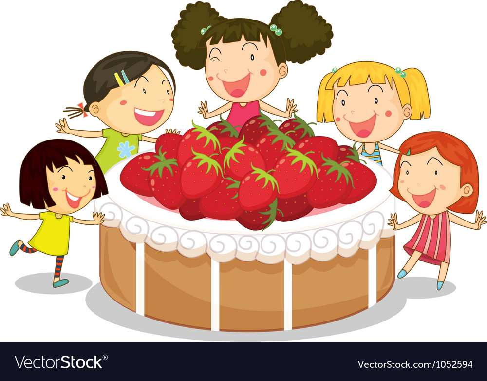 Strawberry cake kids vector | Price: 1 Credit (USD $1)
