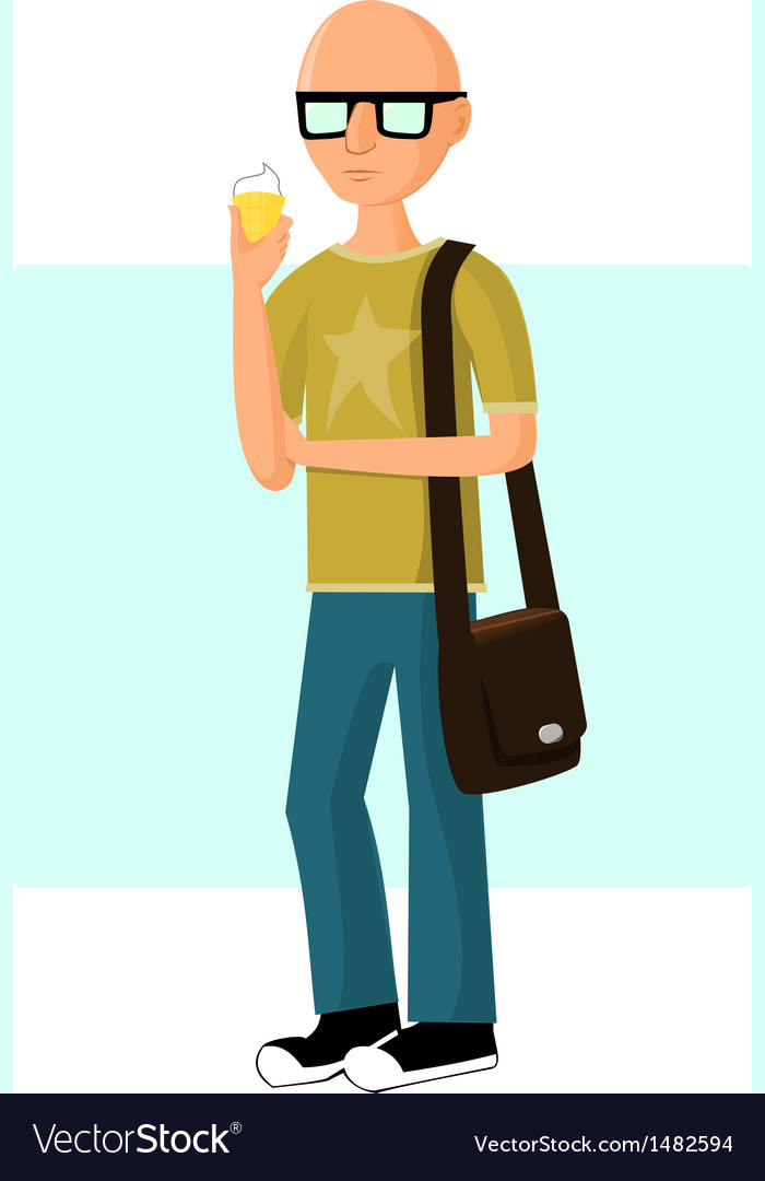 Young fashionable man with ice cream vector | Price: 1 Credit (USD $1)