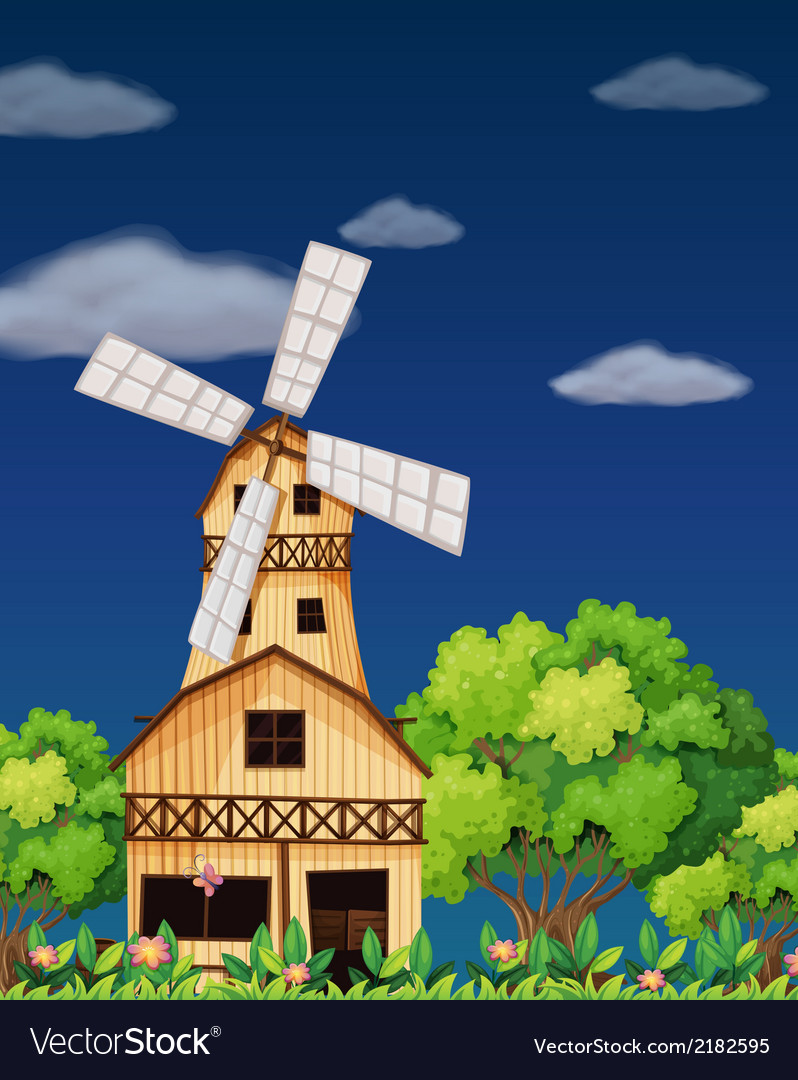 A wooden barnhouse in the middle of the forest vector | Price: 1 Credit (USD $1)