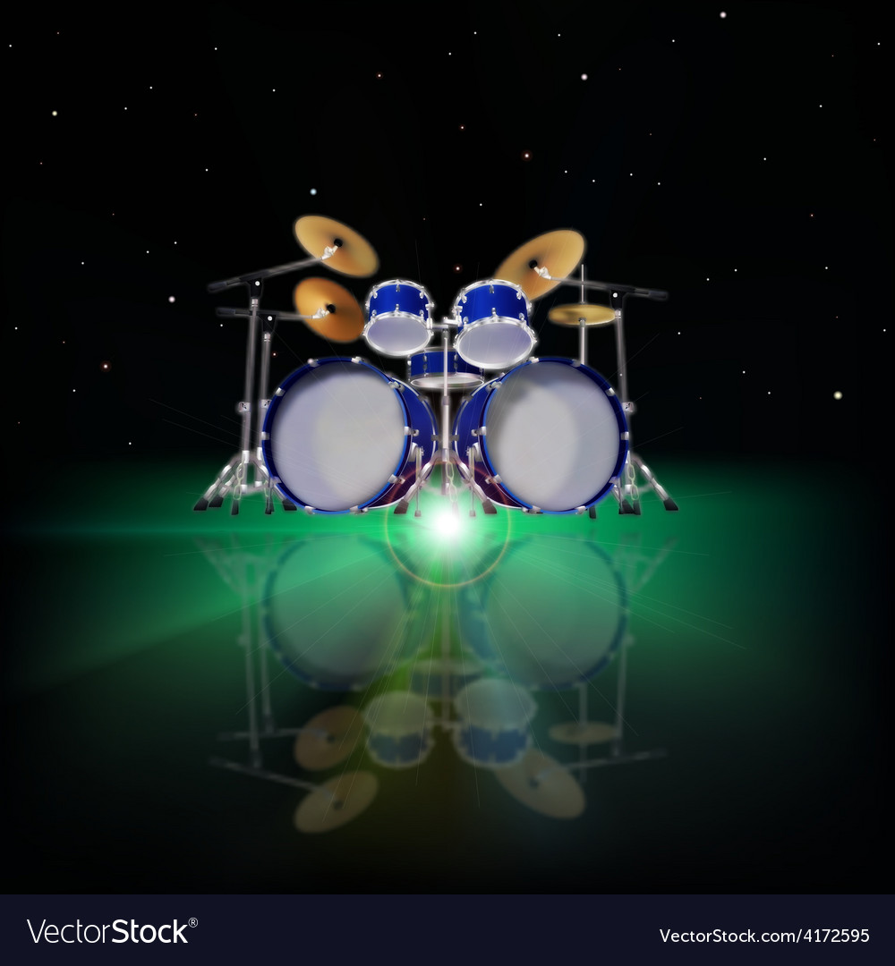 Abstract music background with drum kit and green vector | Price: 3 Credit (USD $3)