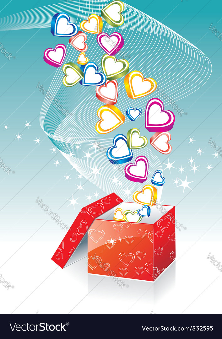 Box with hearts vector | Price: 1 Credit (USD $1)