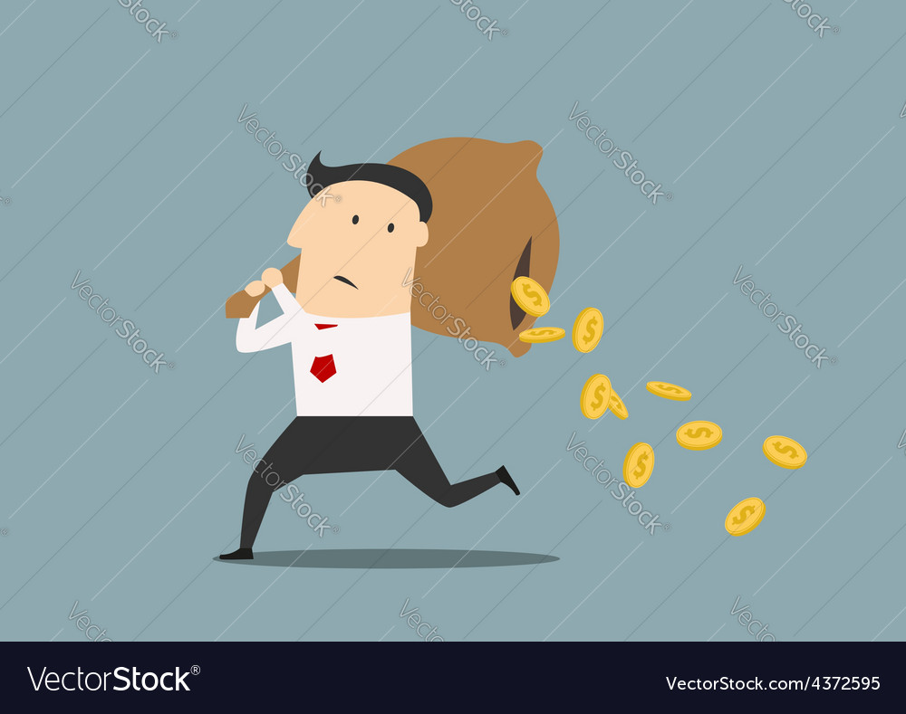 Businessman losing money from a bag vector | Price: 1 Credit (USD $1)