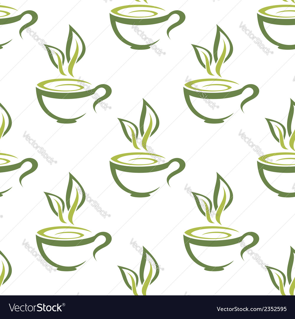 Cups of herbal tea seamless pattern vector | Price: 1 Credit (USD $1)