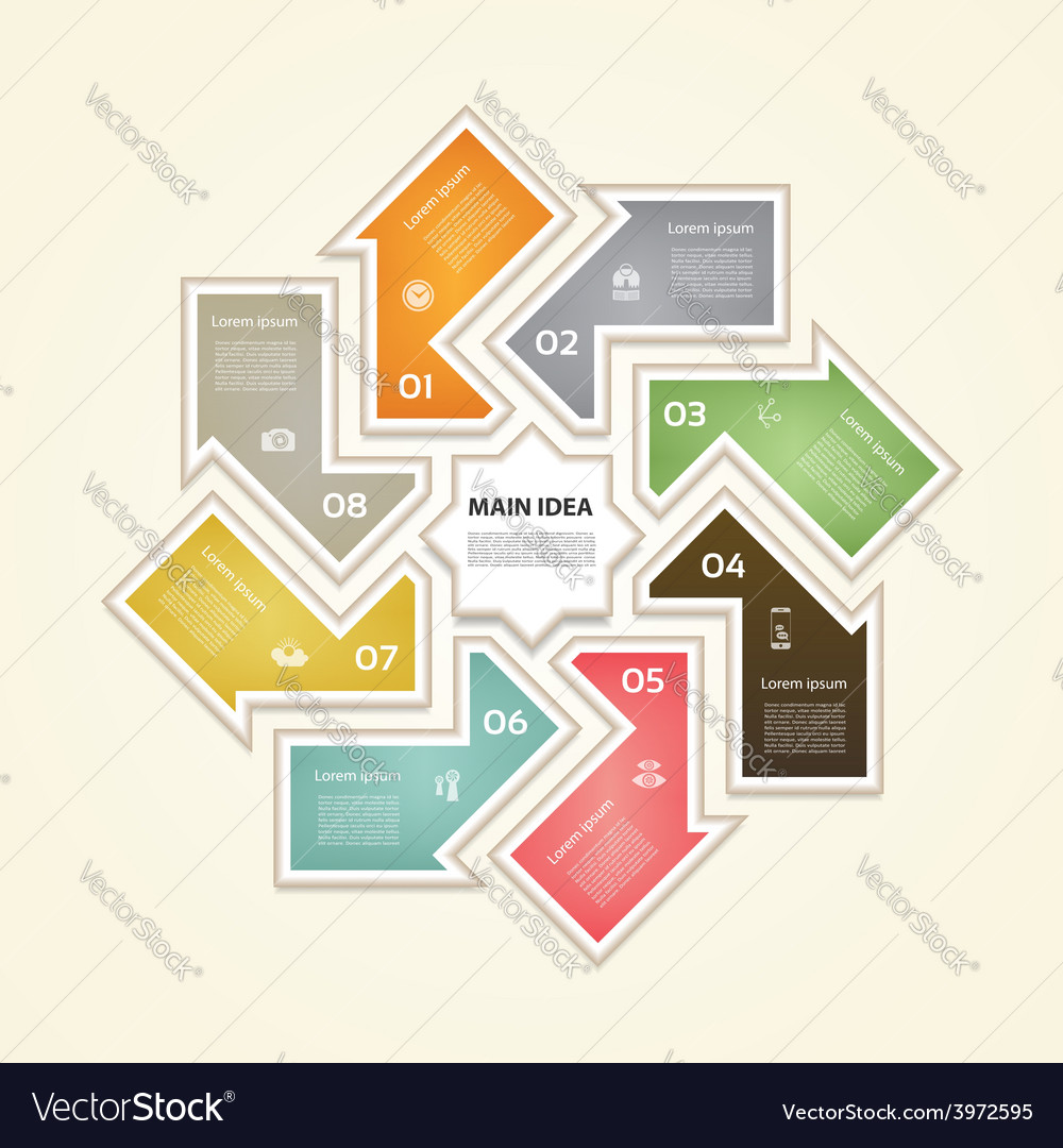 Cyclic diagram with eight steps and icons eps 10 vector   Price: 1 Credit (USD $1)
