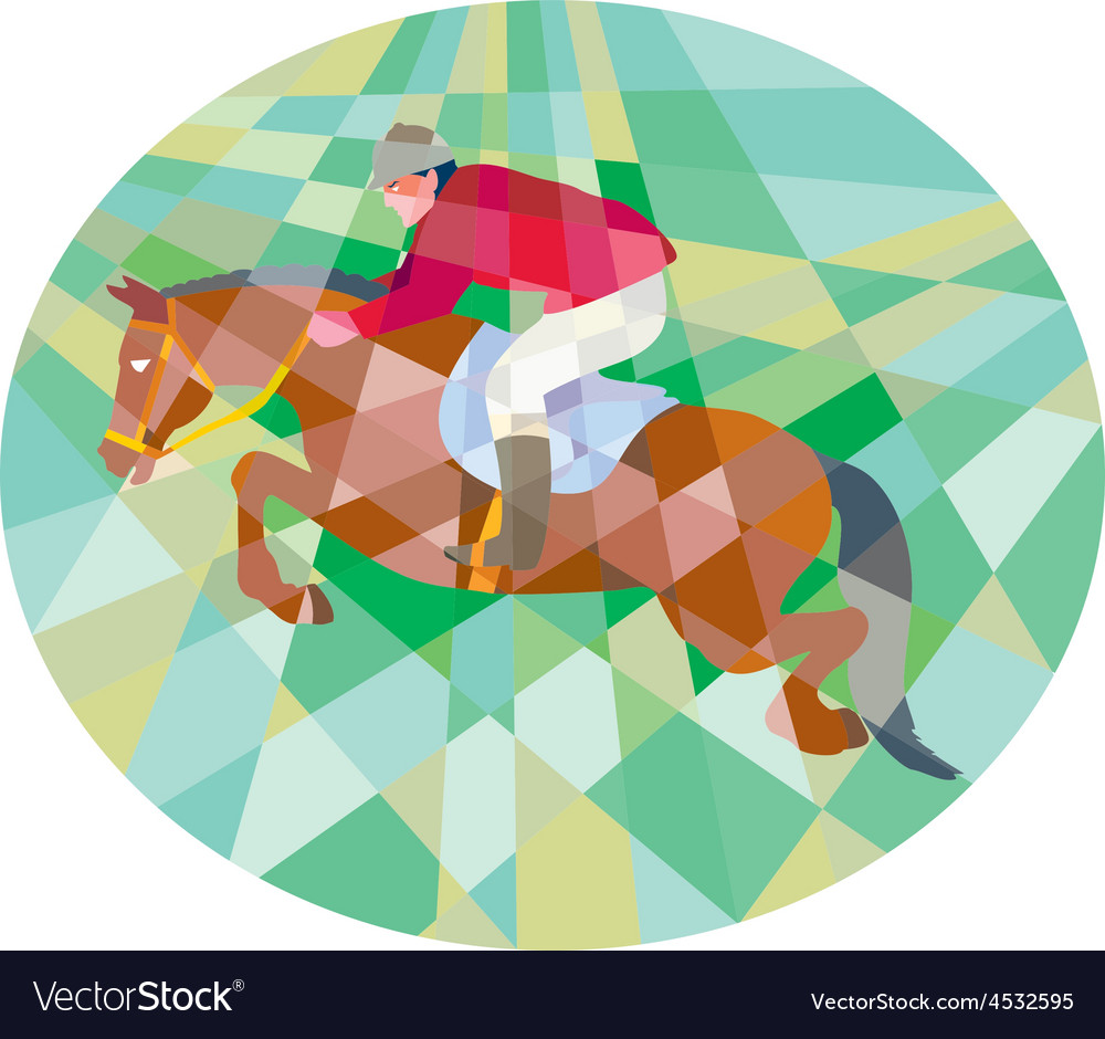 Equestrian show jumping oval low polygon vector | Price: 1 Credit (USD $1)