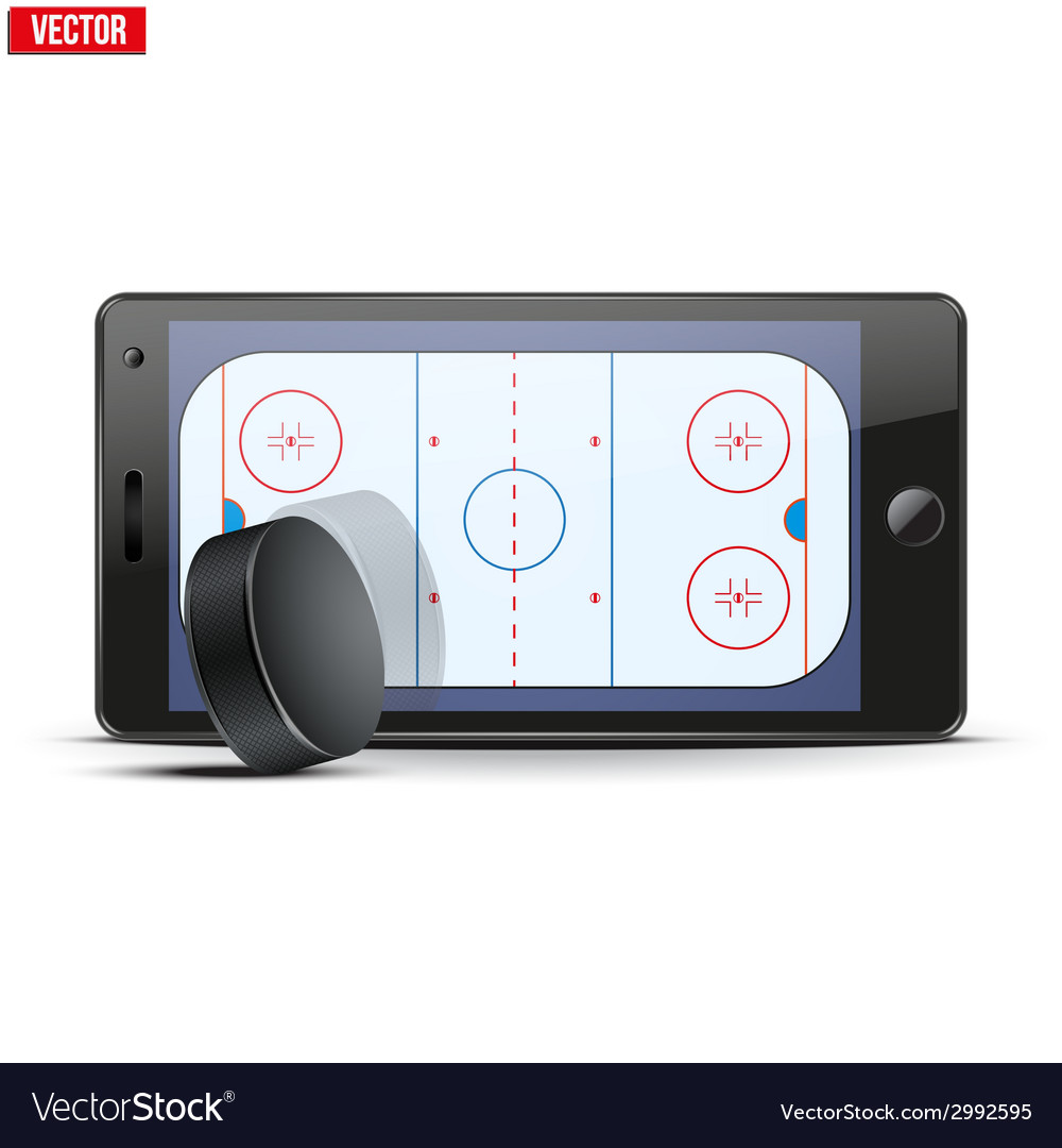 Mobile phone with ice hockey puck and field on the vector | Price: 1 Credit (USD $1)