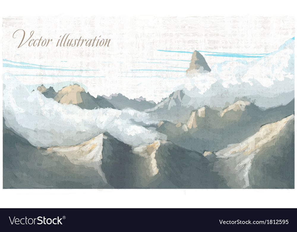 Mountain landscape watercolor imitation in vector | Price: 1 Credit (USD $1)