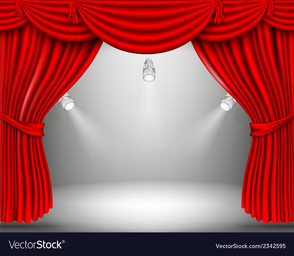 Red curtain with lights vector | Price: 1 Credit (USD $1)