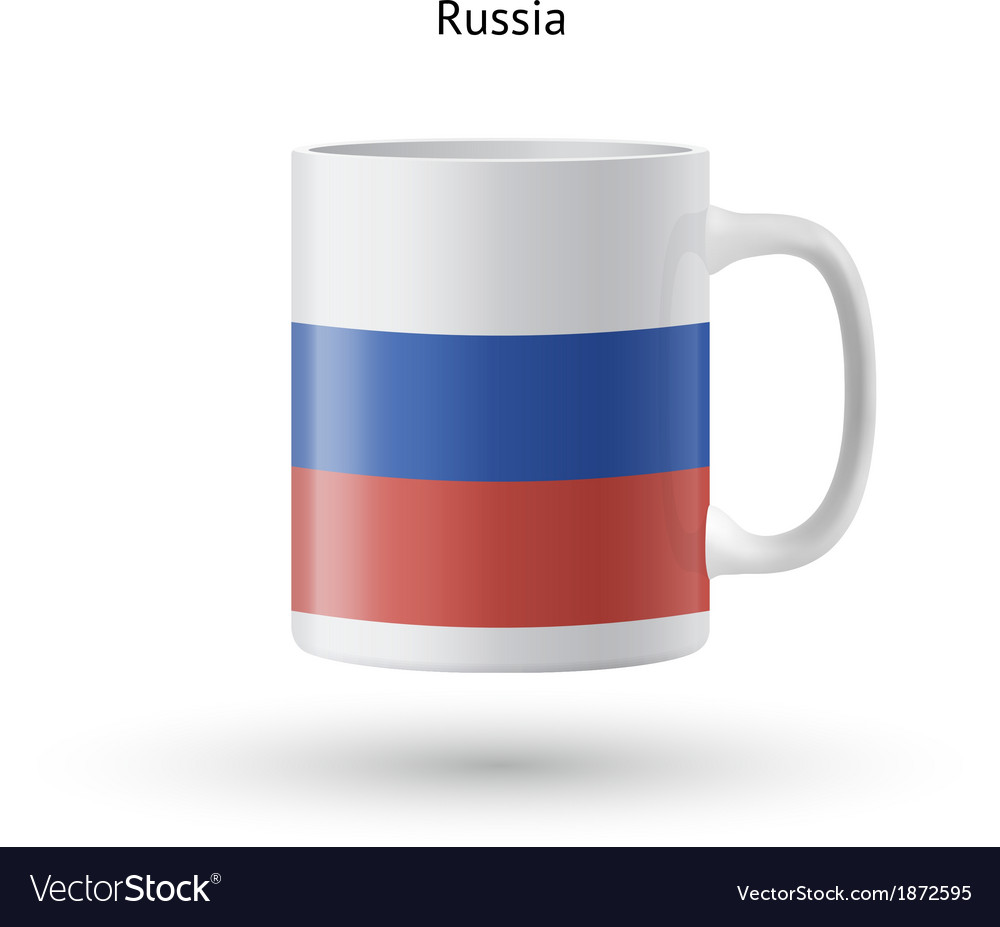 Russia flag souvenir mug on white background vector | Price: 1 Credit (USD $1)