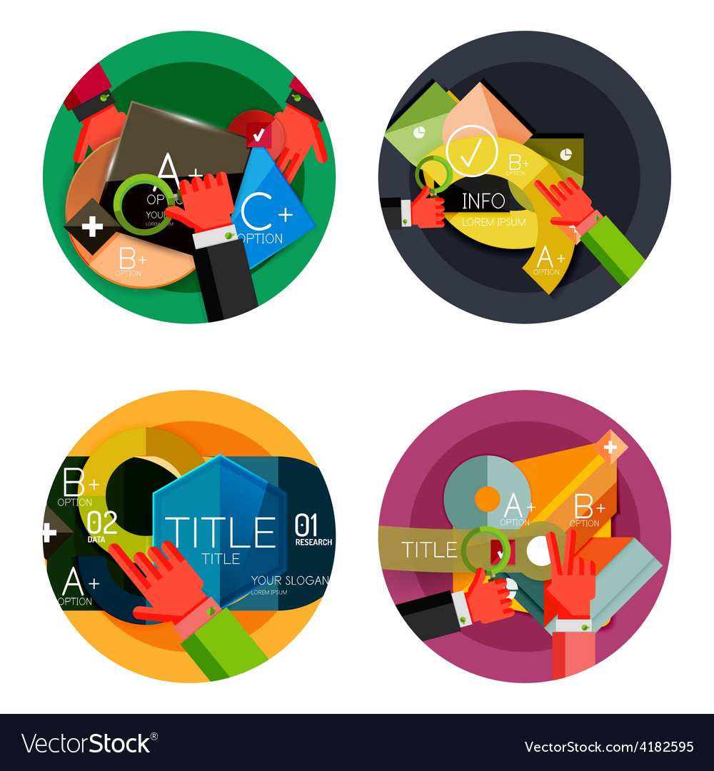 Set of option presentation labels flat design web vector | Price: 1 Credit (USD $1)
