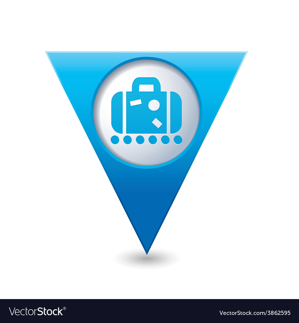 Suitecase blue triangular map pointer vector | Price: 1 Credit (USD $1)