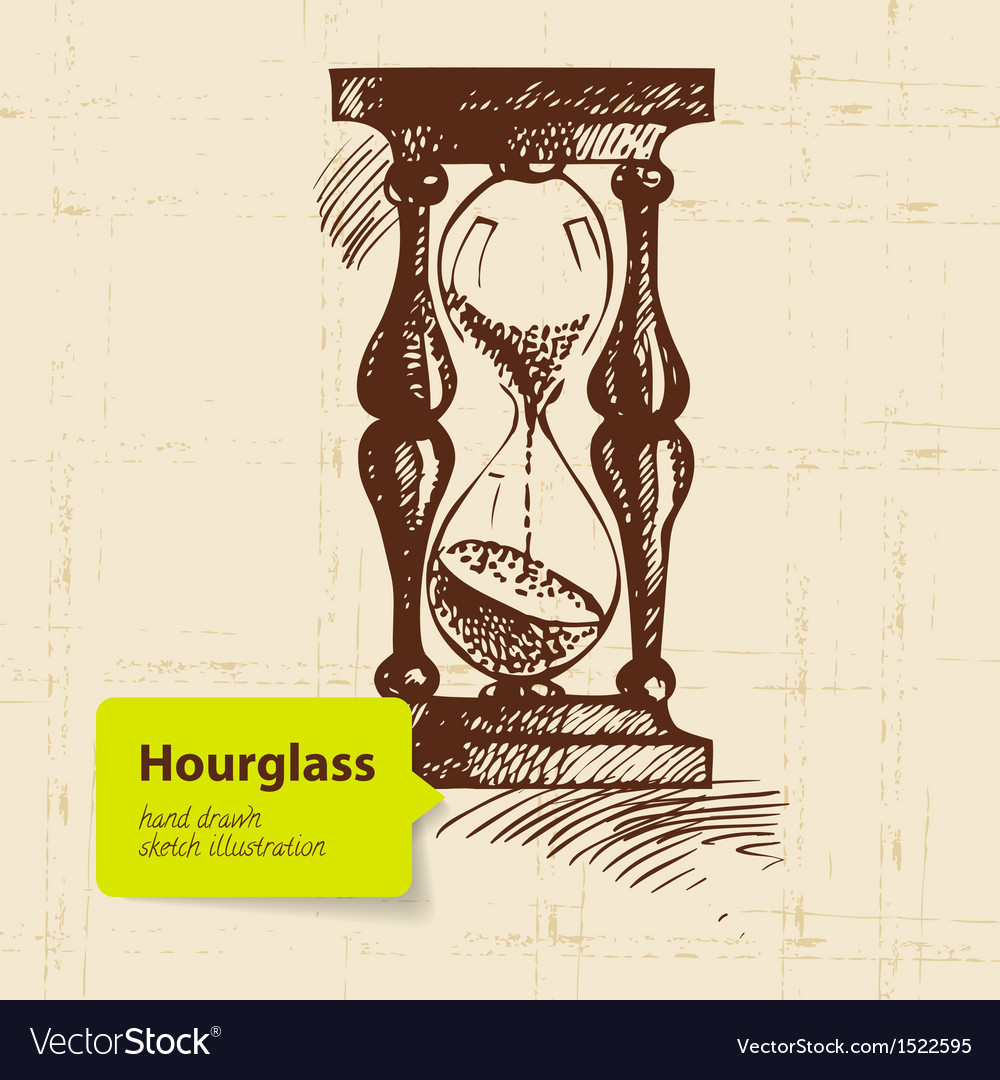 Vintage clock hourglass vector | Price: 1 Credit (USD $1)