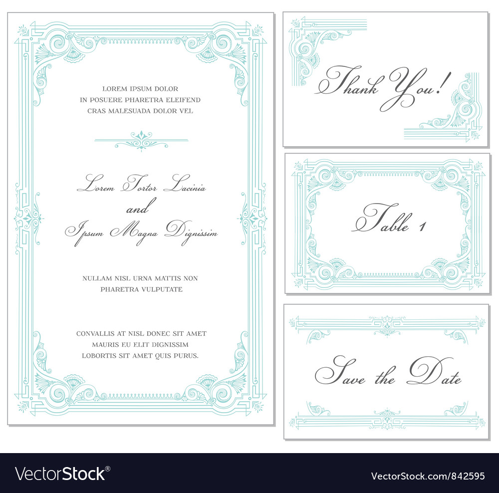 Vintage wedding frame set vector | Price: 1 Credit (USD $1)