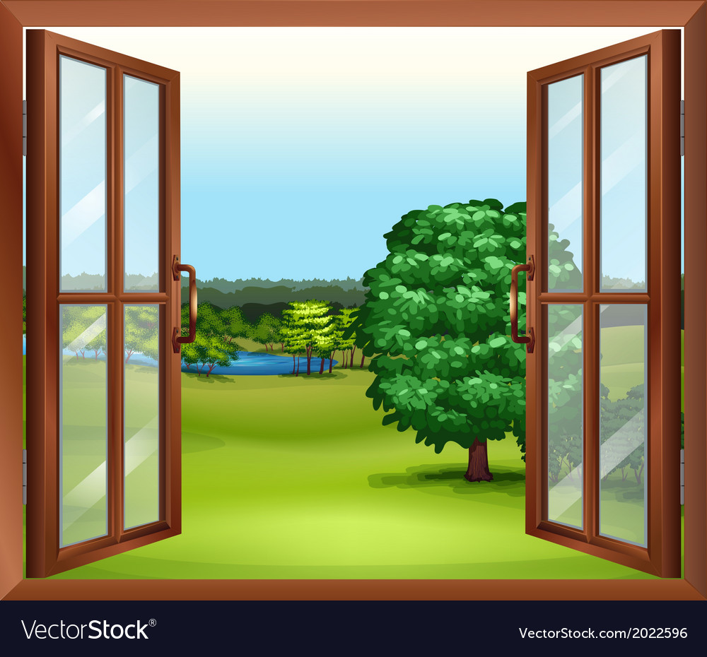 An open wooden window vector | Price: 1 Credit (USD $1)
