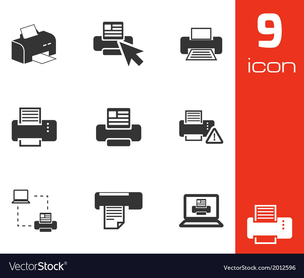 Balck printer icons set vector | Price: 1 Credit (USD $1)