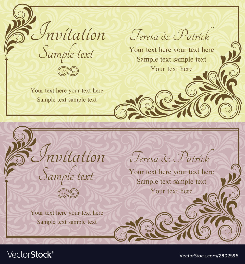 Baroque wedding invitation pink and yellow vector | Price: 1 Credit (USD $1)