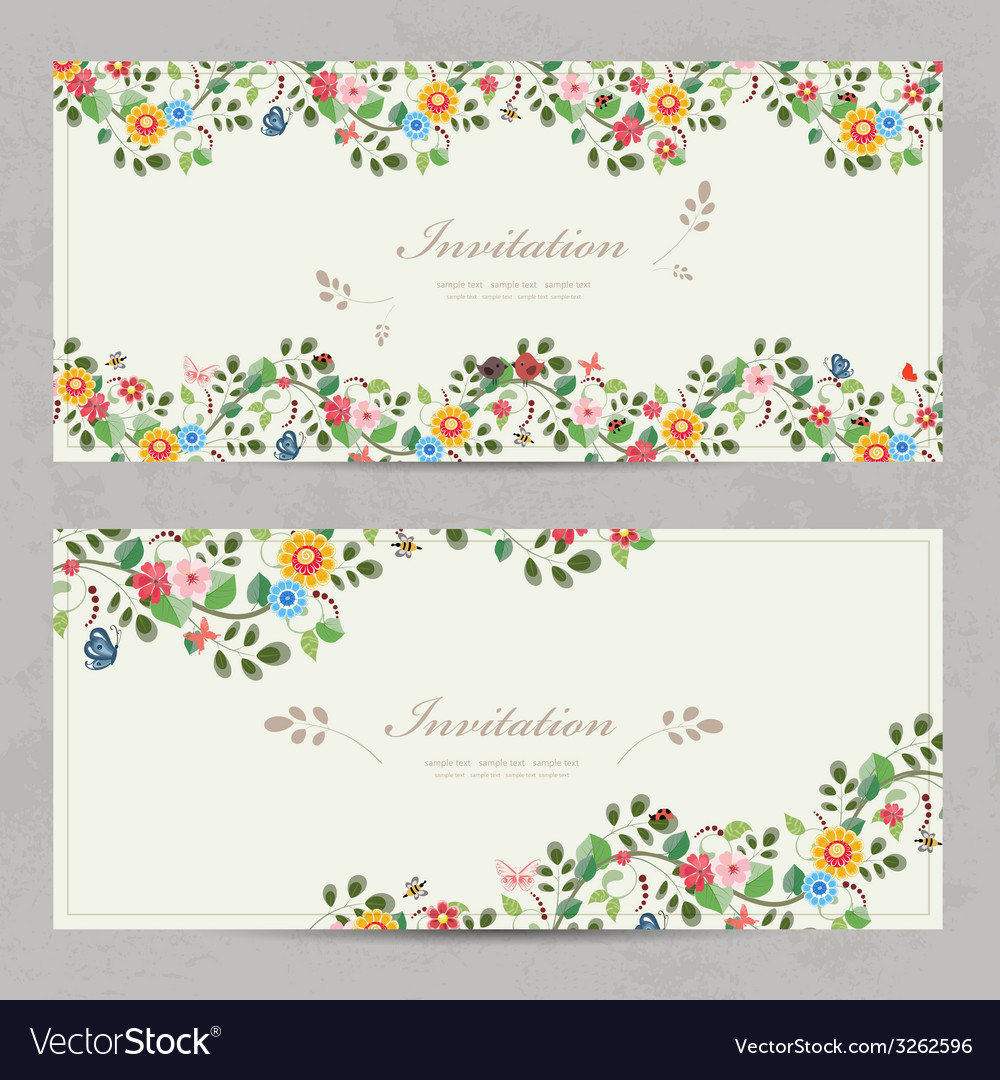 Cute floral invitation cards for your design vector | Price: 1 Credit (USD $1)