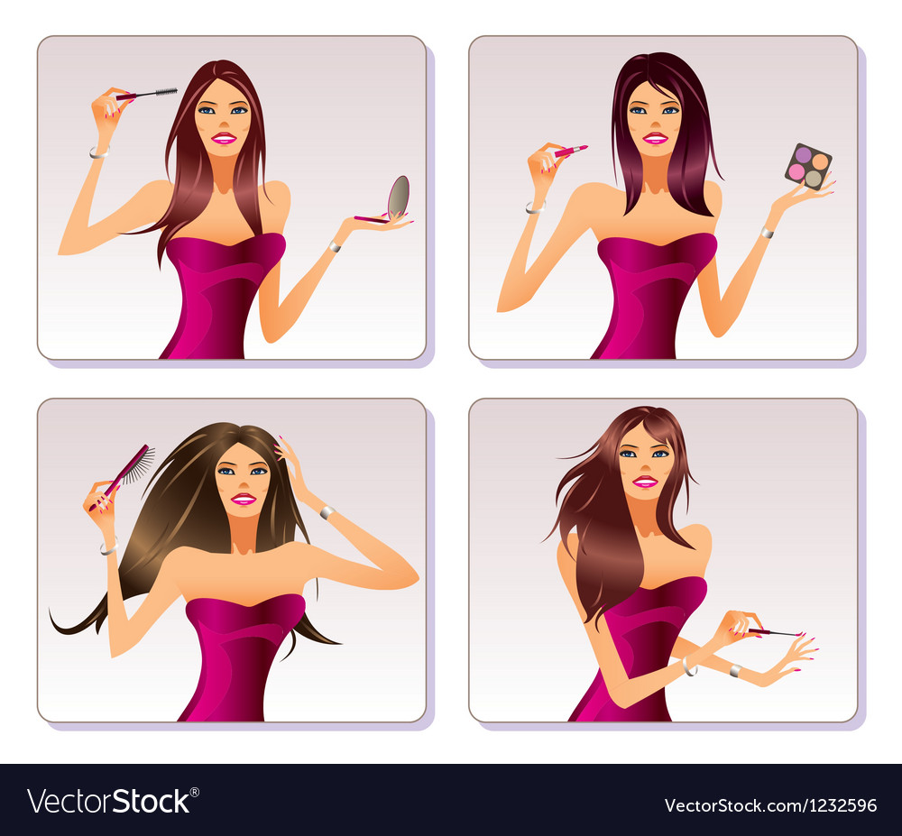 Fashion model is representing cosmetic collection vector | Price: 1 Credit (USD $1)