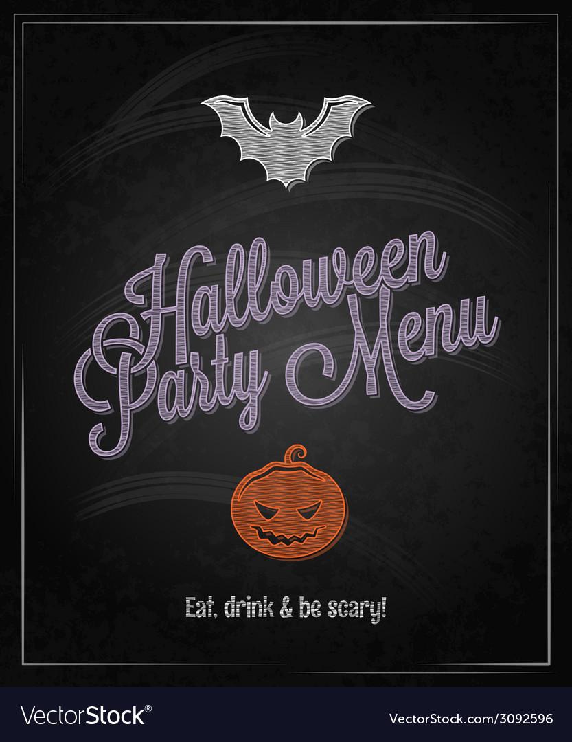 Halloween menu chalkboard restaurant background vector