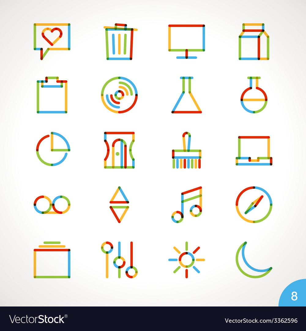 Highlighter line icons set 8 vector | Price: 1 Credit (USD $1)