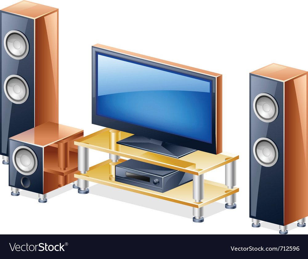 Home theater system with tv and speakers vector | Price: 3 Credit (USD $3)
