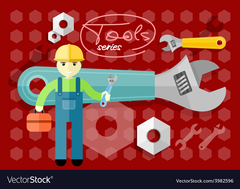Man person with toolbox and wrench in hands vector | Price: 1 Credit (USD $1)
