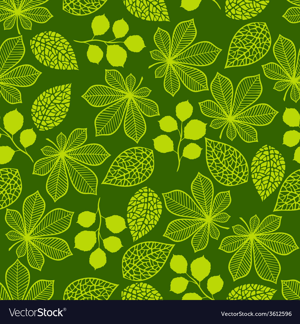 Pattern with stylized green leaves vector | Price: 1 Credit (USD $1)