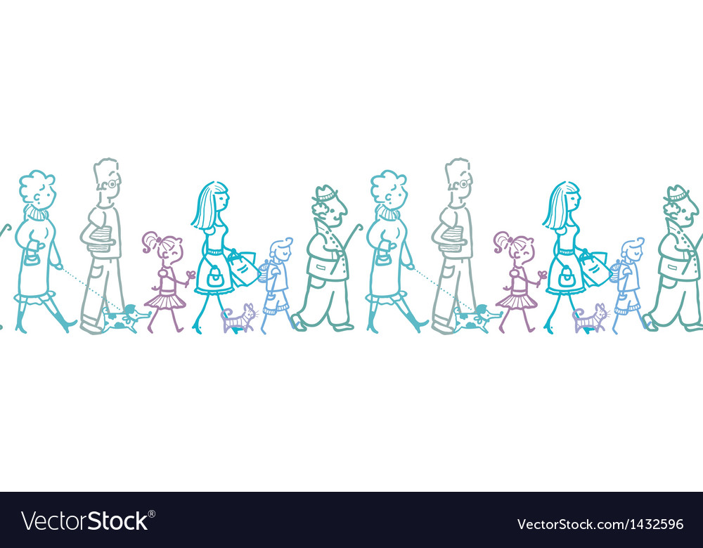 People walking horizontal seamless pattern vector | Price: 1 Credit (USD $1)