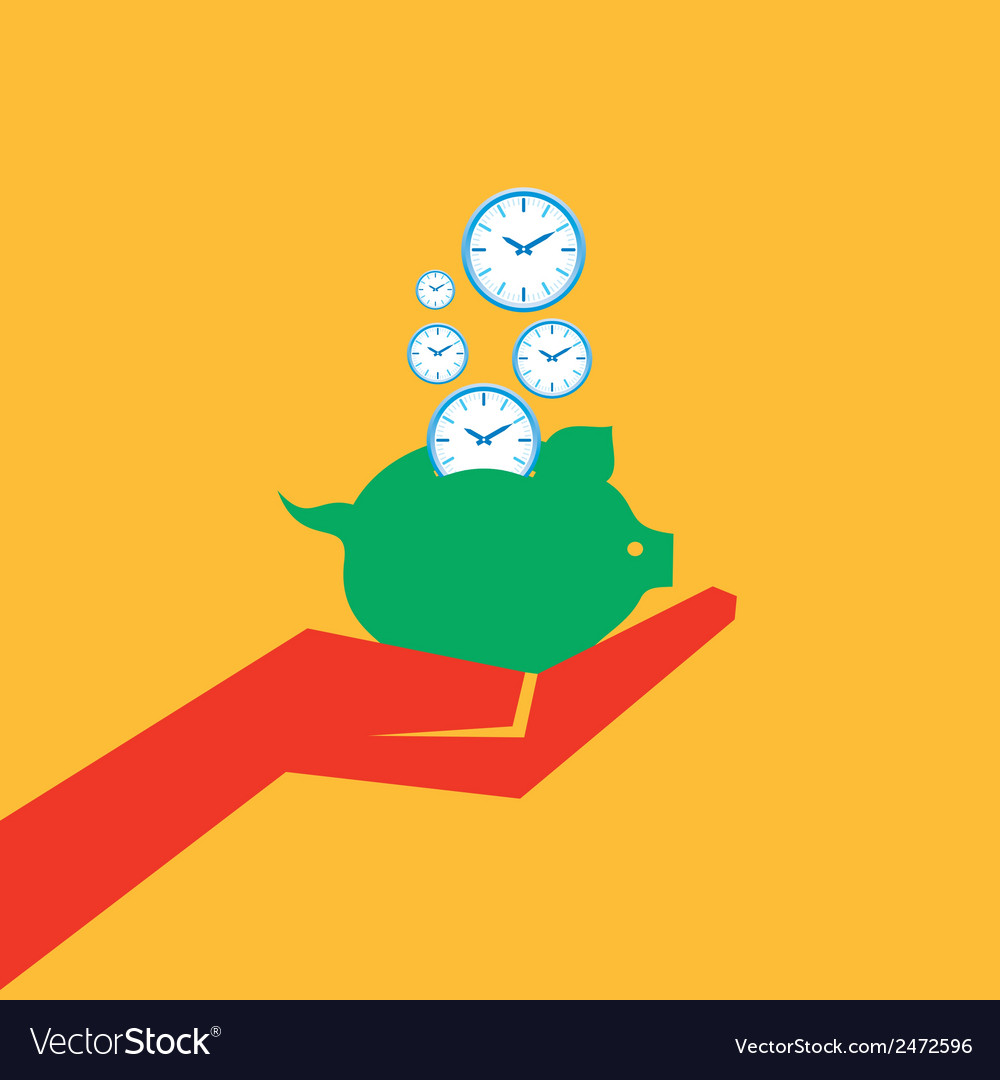 Save time concept with piggy bank stock vector | Price: 1 Credit (USD $1)