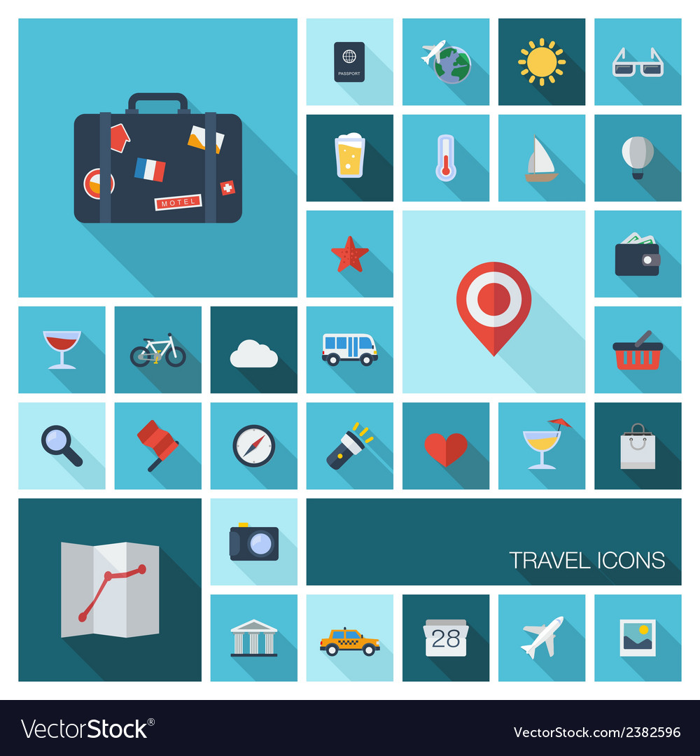 Travel icons with long shadow vector | Price: 1 Credit (USD $1)