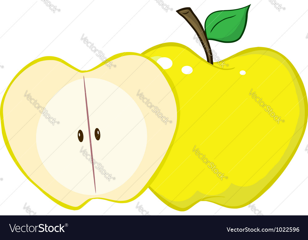 Whole and cut yellow apple vector | Price: 1 Credit (USD $1)