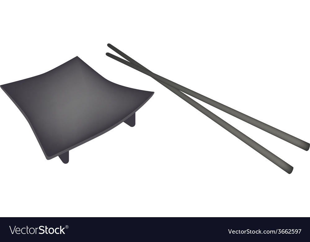 Beautiful black geta plate or wooden sushi board vector | Price: 1 Credit (USD $1)