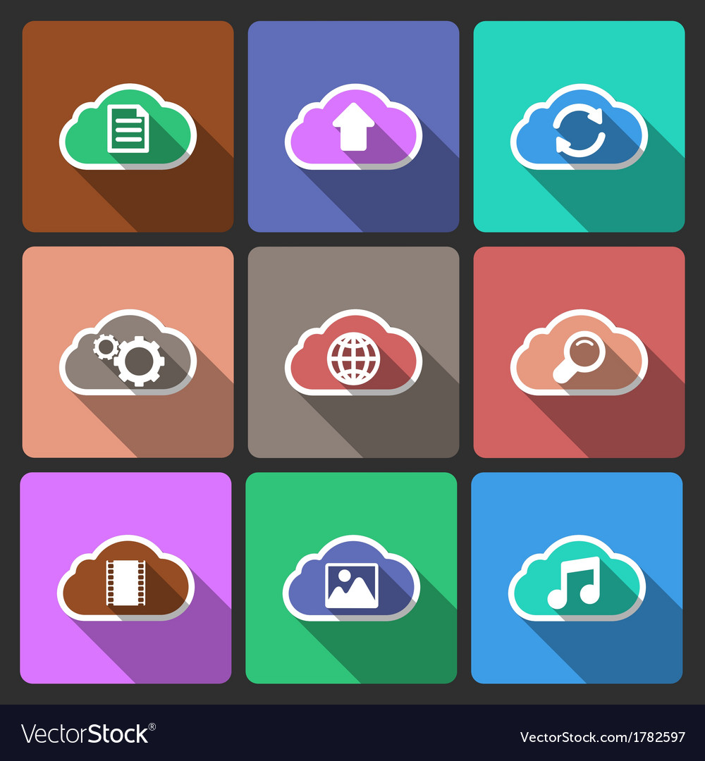 Cloud ui layout icons squared shadows vector | Price: 1 Credit (USD $1)