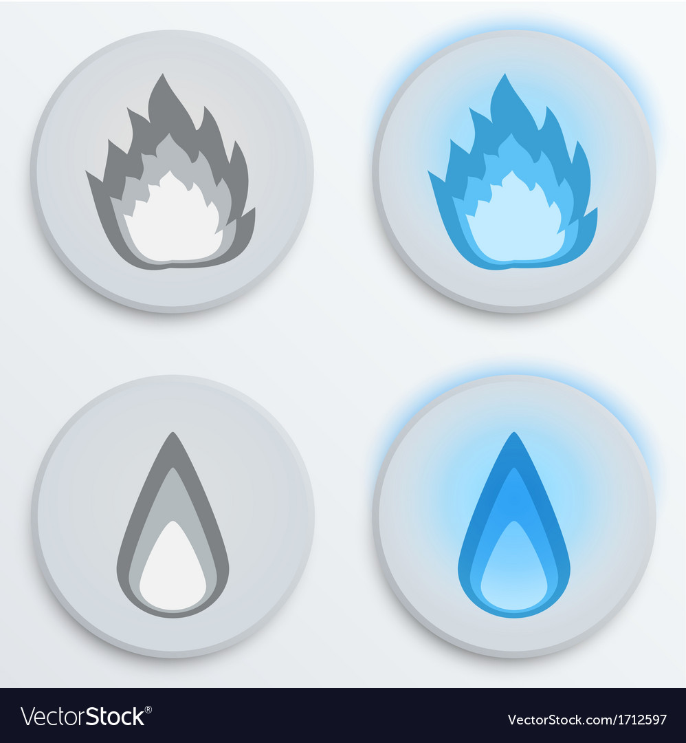 Fire flames blue set icons vector | Price: 1 Credit (USD $1)