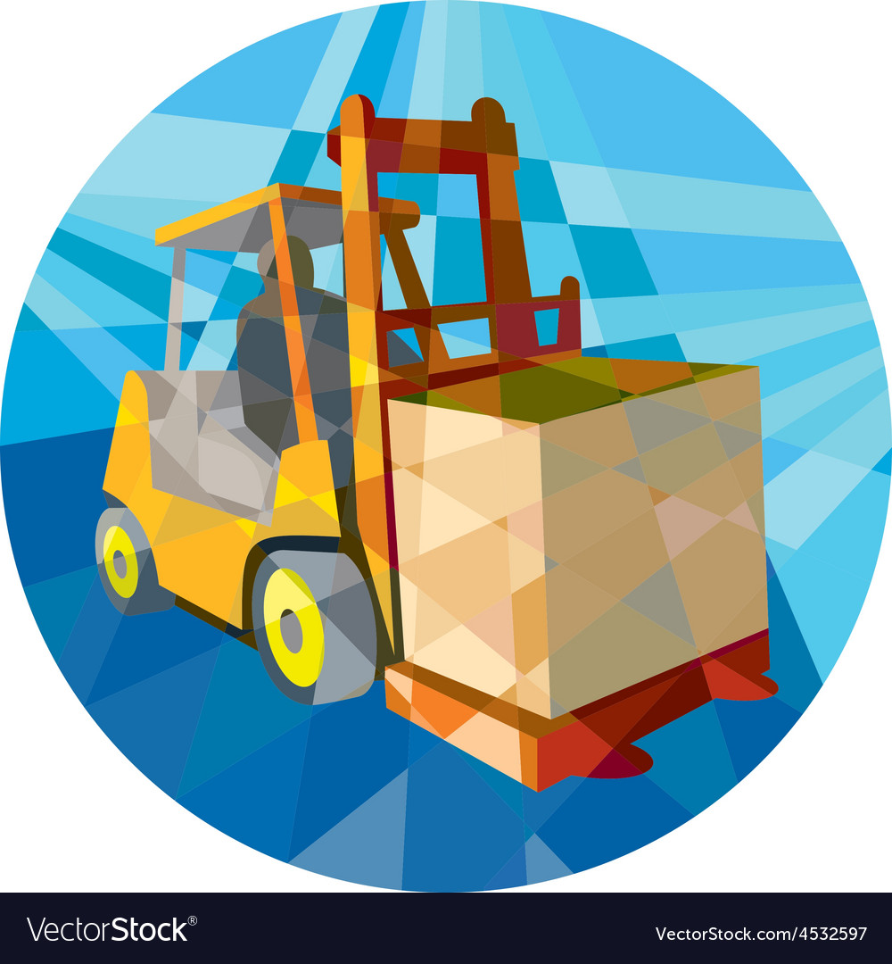 Forklift truck materials box circle low polygon vector | Price: 1 Credit (USD $1)