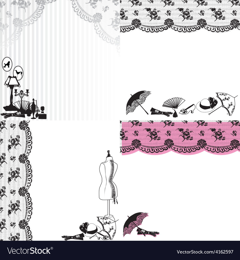 Four backgrounds with vintage accessories vector | Price: 1 Credit (USD $1)