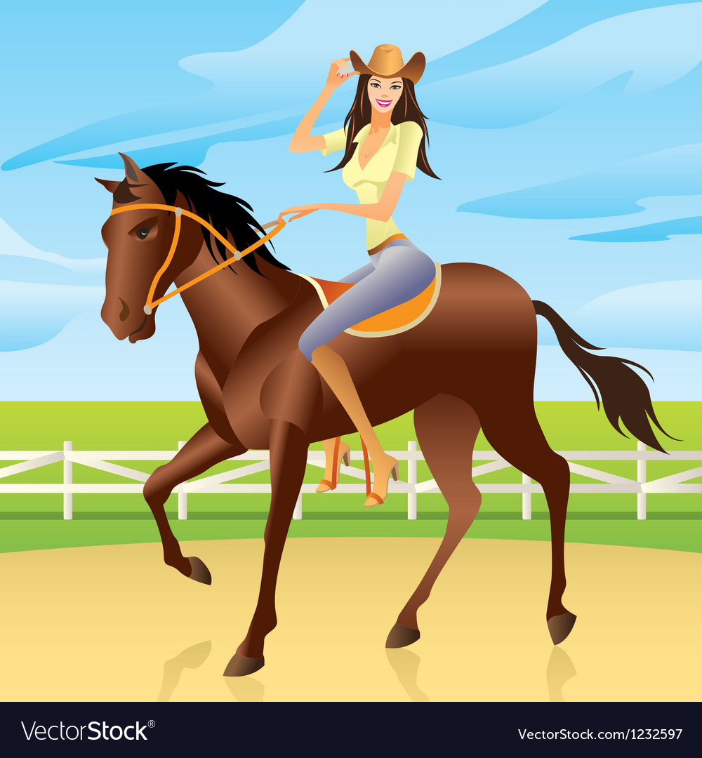 Girl is riding a horse in western style vector | Price: 1 Credit (USD $1)