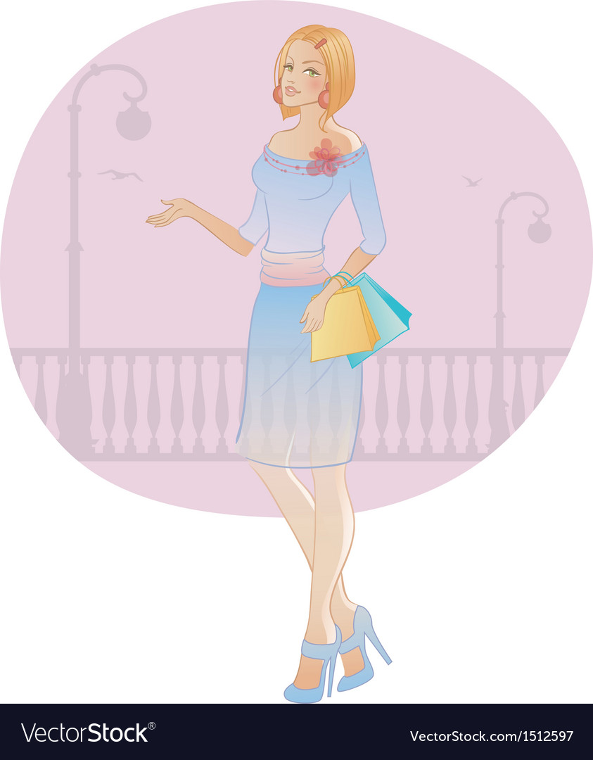 Girl shopping vector | Price: 3 Credit (USD $3)