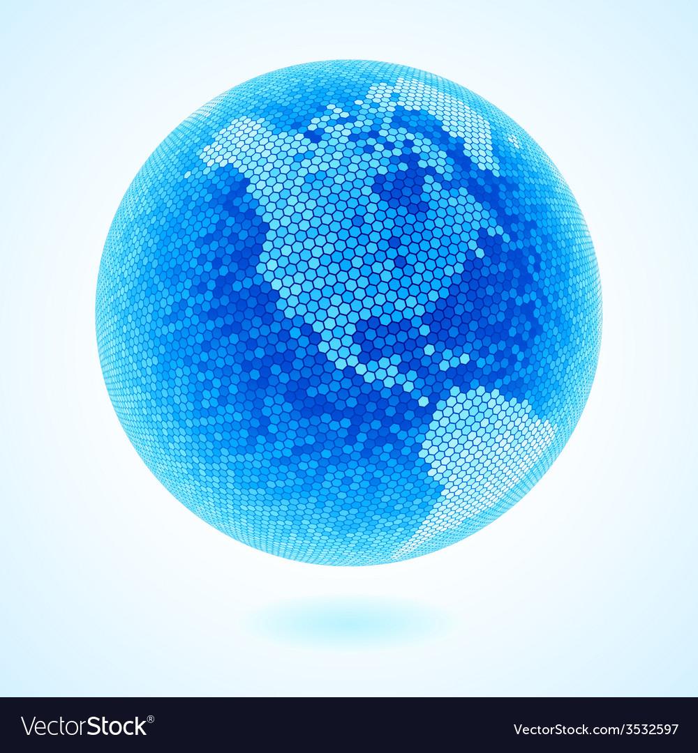 Hexagon mosaic globe vector | Price: 1 Credit (USD $1)