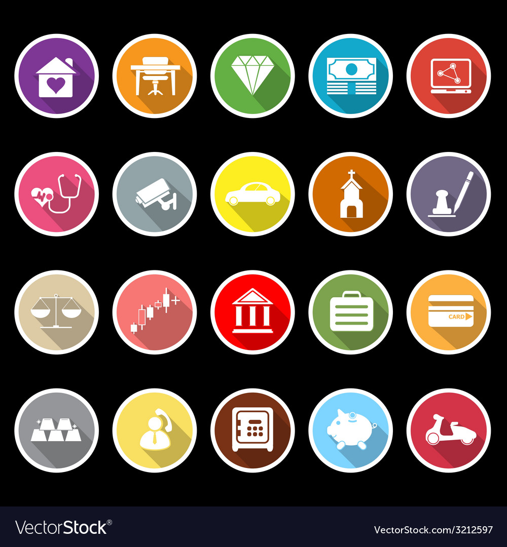 Insurance related flat icons with long shadow vector | Price: 1 Credit (USD $1)