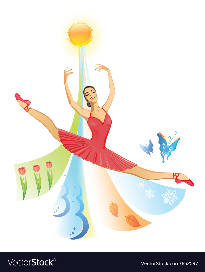 Jumping ballet dancer vector | Price: 1 Credit (USD $1)