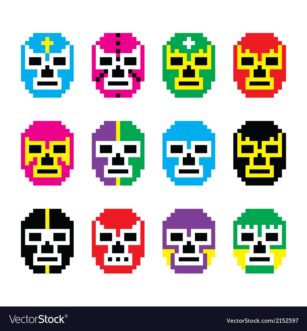 Lucha libre luchador pixelated mexican wrestling vector | Price: 1 Credit (USD $1)