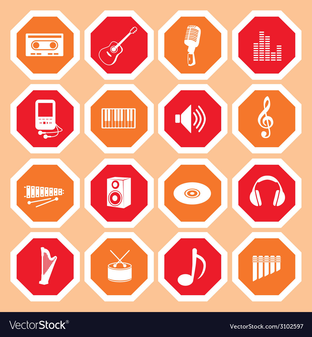 Music icon collection vector | Price: 1 Credit (USD $1)