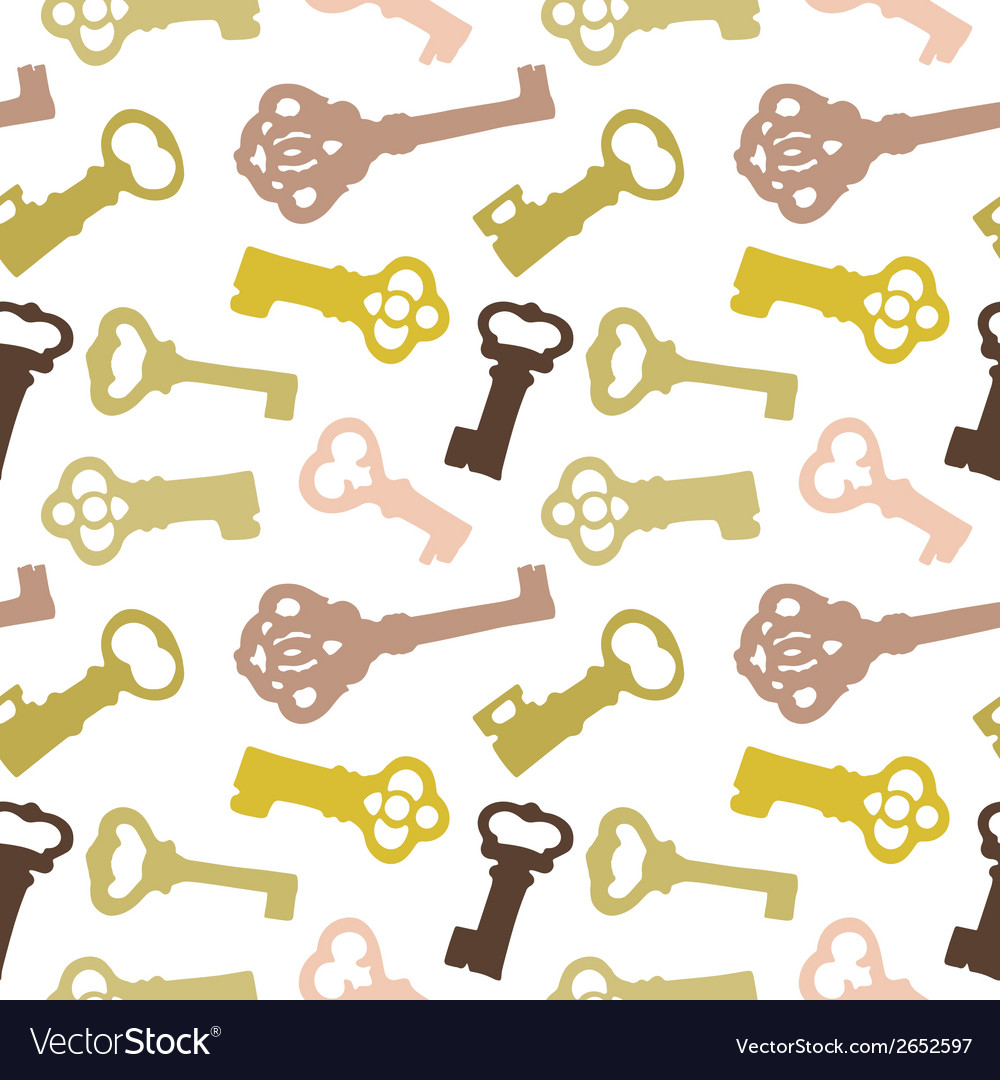 Seamless pattern with vintage keys vector | Price: 1 Credit (USD $1)