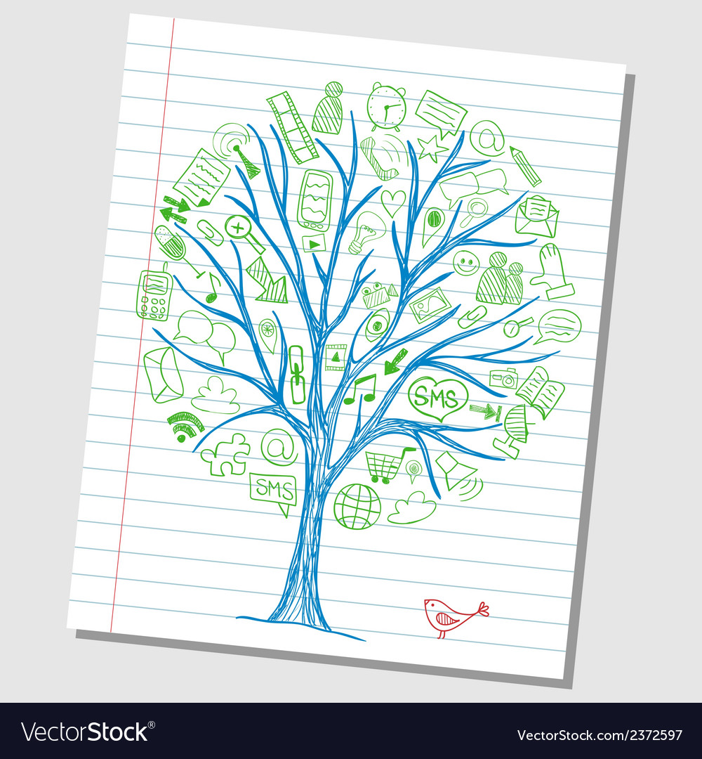Social media doodle icons on tree vector | Price: 1 Credit (USD $1)